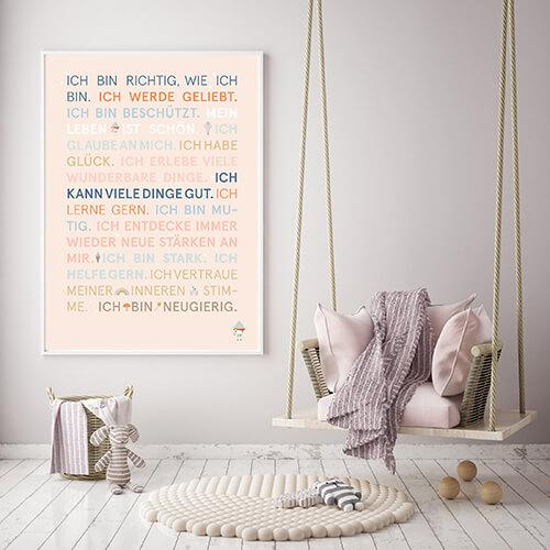 Poster Glückssätze beige