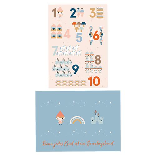 Postkarte Zahlen und Sonntagskind