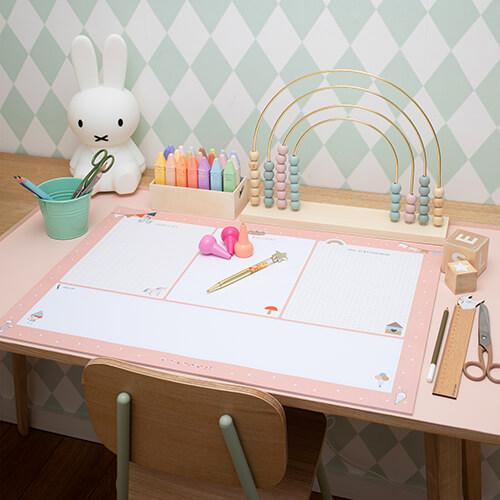 Schreibtischunterlage für Kinder in Pfirsichrosa