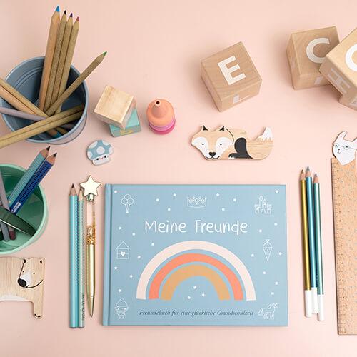 Freundebuch für Schulkinder in eisblau