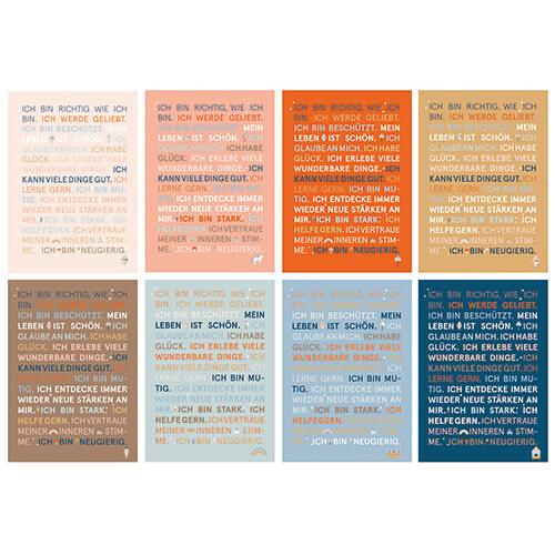 Postkartenset mit Glückssätzen in 8 Farben